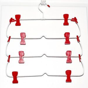 Vintage 4-Tier Skirt Hanger w/ Red Plastic Clips